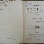 FLORENCE ET TURIN, Daniel Stern, Paris, 1862