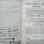 NOUVEAU VOCABULAIRE FRANCAIS, Alfred de Waillly, Paris, 1834
